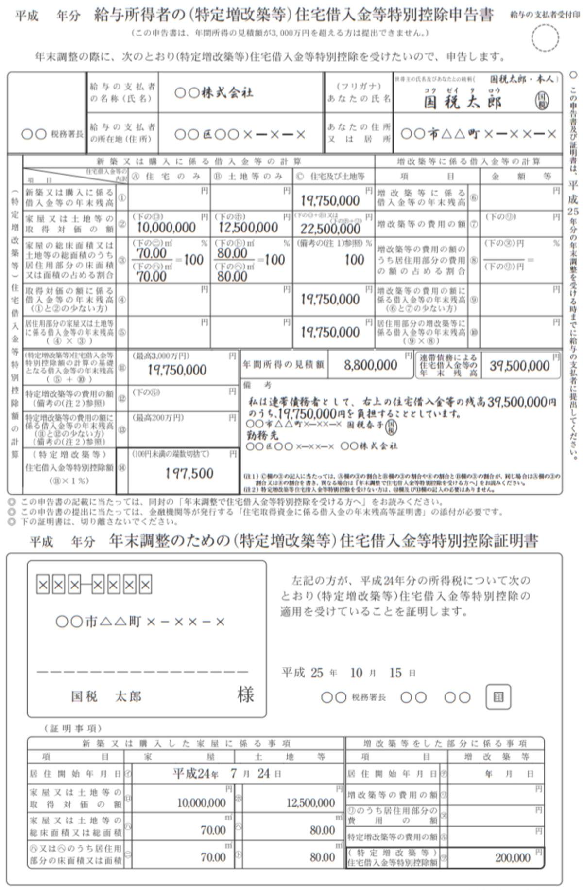 給与所得者の(特定増改築等)住宅借入金等特別控除申告書(編集部にて作成)