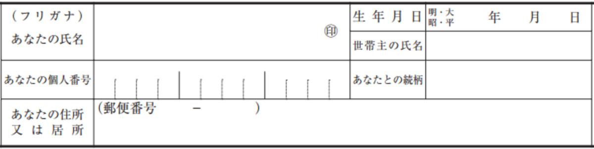 扶養控除申告書の世帯主・続柄の記入欄(編集部にて作成)