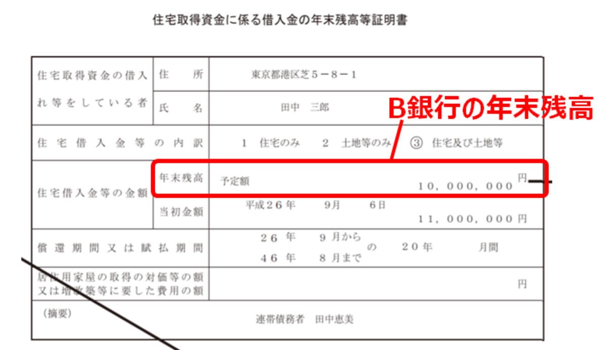 年末調整 住宅ローン控除の書き方2-B(編集部にて作成)