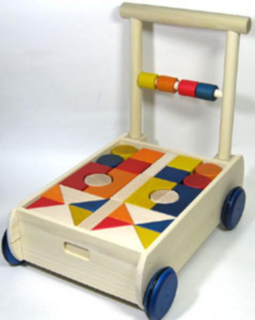 名入れ無料|手押しカラー積み木車|積み木 1歳 日本製 ニチガンオリジナル 木のおもちゃ 国産つみき ブロック 出産祝い 名前入り