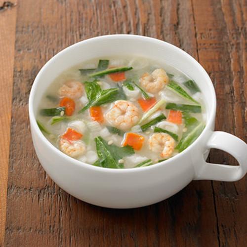 エビと水菜の白湯スープ
