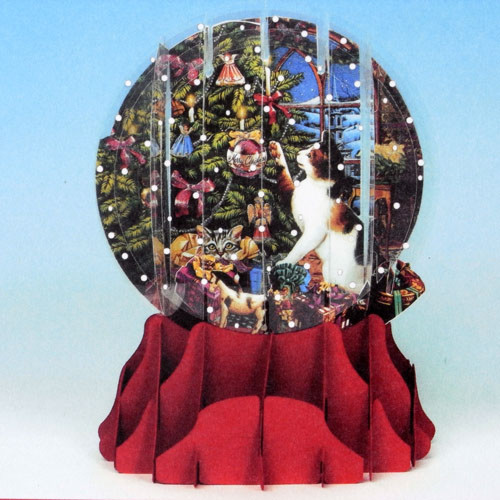 ポップアップ グリーティングカード スノーグローブ立体クリスマスカード猫