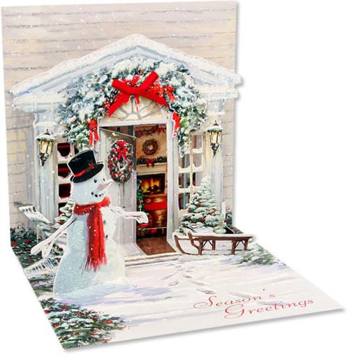 ポップアップクリスマスカード アメリカ  ハウス&雪だるま