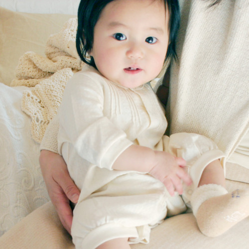 【ネコポス可】柔らか素材の2WAYドレス(ツーウェイオール)60サイズ 出産祝いに人気のベビー服 オーガニックコットン プリスティン【あす楽対応】