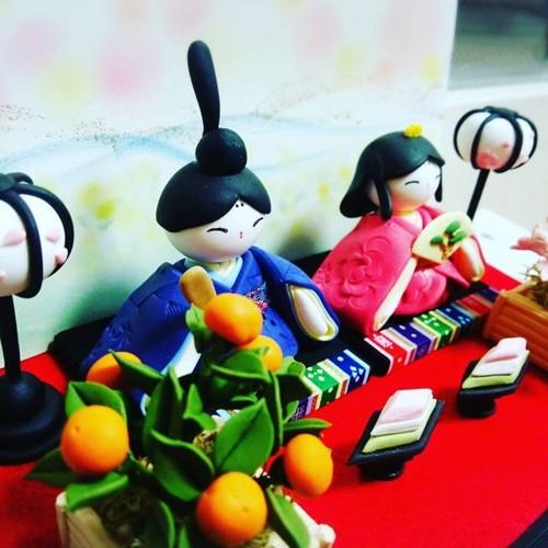 粘土細工で雛人形