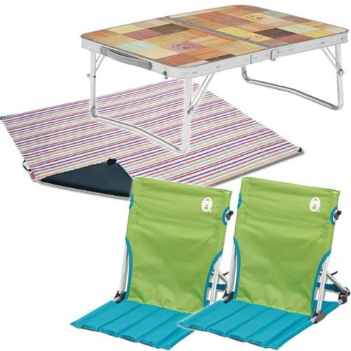 コールマン チェア コンパクトグランドチェア + レジャーシート(ストライプ)+ ミニテーブルセット