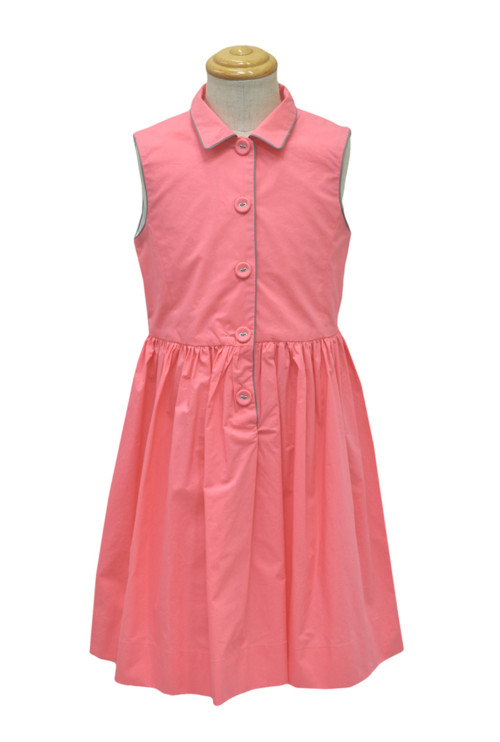 ★sale 55% ボンポワン Bonpoint 08896 kids/Jr 襟付きノースリーブワンピース ピンク make up col.023B 10-12A フランス