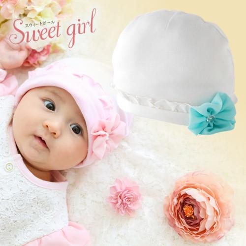 スウィートガール お花コサージュ付き帽子