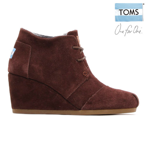 TOMS Women's Desert Wedges (Chocolate Suede Suede)